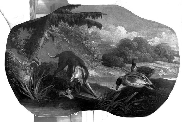 Peinture sur toile (au-dessus d'une porte de salon) : Scènes champêtres, chiens et canards