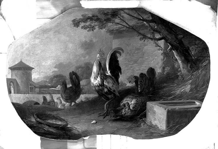 Peinture sur toile (au-dessus d'une porte de salon) : Scènes champêtres, coq et poules