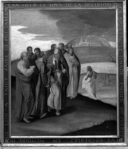 Panneau peint votif : La division des apôtres
