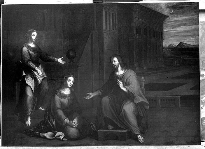 Peinture sur toile : Jésus chez Marthe et Marie