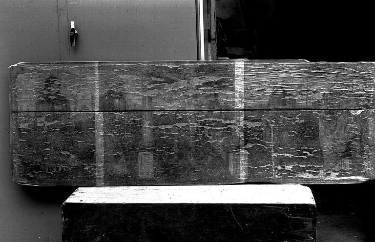 Panneau peint : Crucifixion entre la Vierge et saint Jean (centre), saint Antoine et saint Pierre (à gauche), sain Paul et saint Grégoire le Grand ? (à droite)