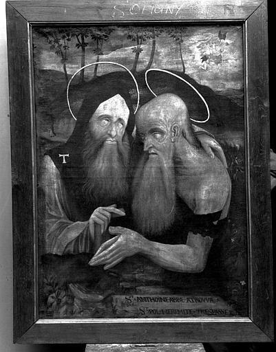 Peinture sur toile : Sain Antoine abbé et saint Paul ermite