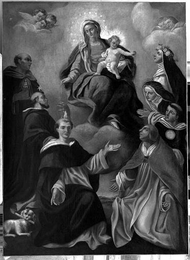 Peinture sur toile : Vierge au Rosaire entre saint Dominique, saint Pierre de Vérone, saint Hyacinthe, Pie V, saint Thomas d'Aquin, sainte Catherine de Sienne et sainte Rose de Lima