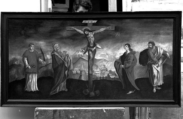 Peinture sur toile : Christ en croix entre la Vierge, saint Etienne, saint Jean et saint Barthélémy