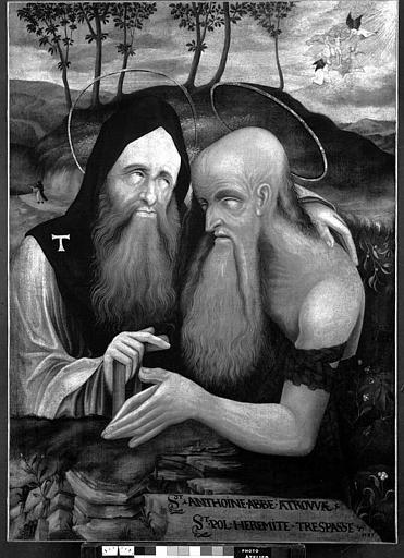 Peinture sur toile : Saint Antoine et saint Paul