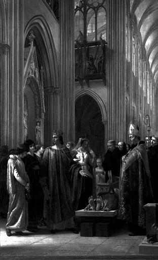 Peinture sur toile dans la sacristie : Saint Louis fait rétablir le tombeau des Rois