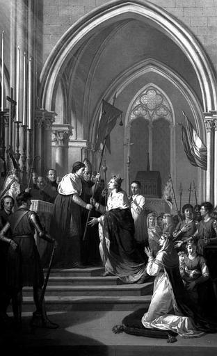 Peinture sur toile dans la sacristie : Saint Louis prend l'oriflamme à Saint-Denis en 1248