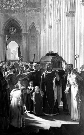 Peinture sur toile dans la sacristie : Philippe III le Hardi apporte à Saint-Denis les reliques de Saint-Louis...