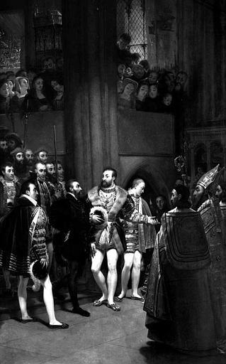Peinture sur toile dans la sacristie : Charles Quint et François 1er visitent l'église Saint-Denis en 1540