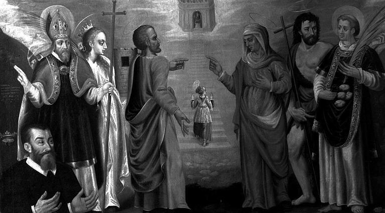 Peinture sur toile : Présentation de la Vierge aux saints (saint évêque, sainte ?, saint Joachim, sainte Anne, saint Jean-Baptiste, saint Etienne et le donateur)
