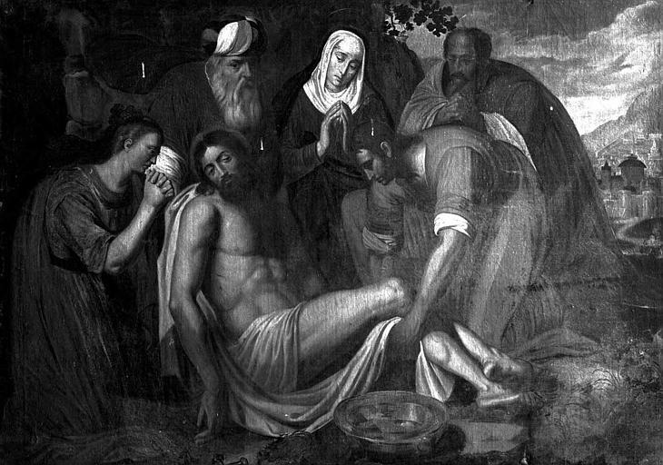 Peinture sur toile : Déploration du Christ mort