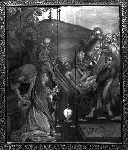 Panneau peint et son cadre ancien : Ensevelissement du Christ