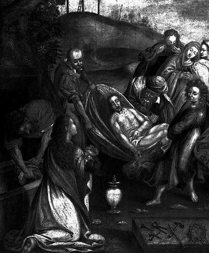 Panneau peint : Ensevelissement du Christ