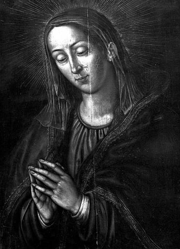 Panneau peint : Vierge en prière (Mater Dolorosa)