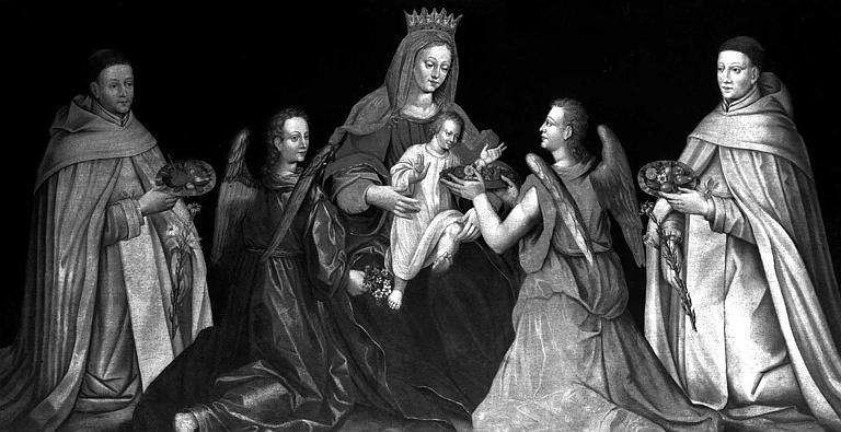 Peinture sur toile : Vierge à l'Enfant entourée de deux anges et deux moines