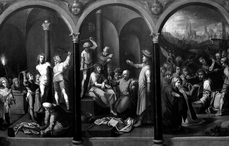 Peinture sur toile : La Flagellation, le Couronnement d'Epines, la Montée au Calvaire