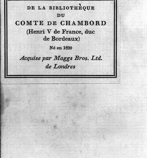 Missel romain de Venise ayant appartenu au Comte de Chambord : Etiquette indiquant la provenance du volume