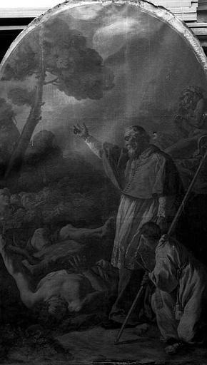 Peinture sur toile : Miracle du Pin sacré par saint Martin