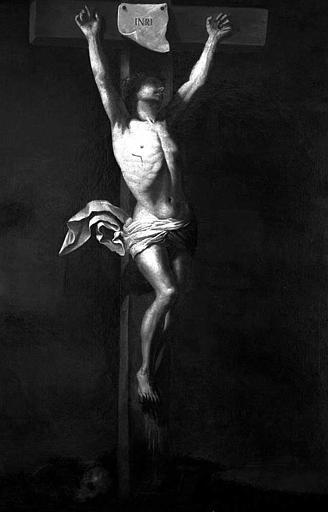 Peinture sur toile : Christ en croix, donné par le Roi en 1838