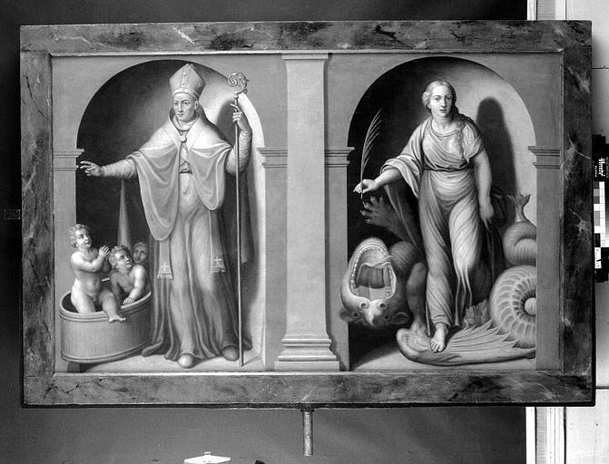 Panneau peint : Saint Nicolas, sainte Marguerite