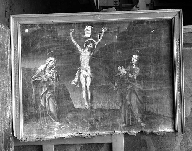 Peinture sur toile : Le Christ en croix entre la Vierge et saint Jean