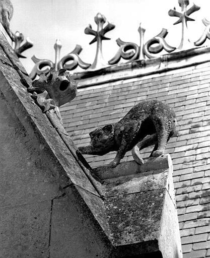 Bâtiment dit du casernement : Détail des sculptures du gâble (félin)