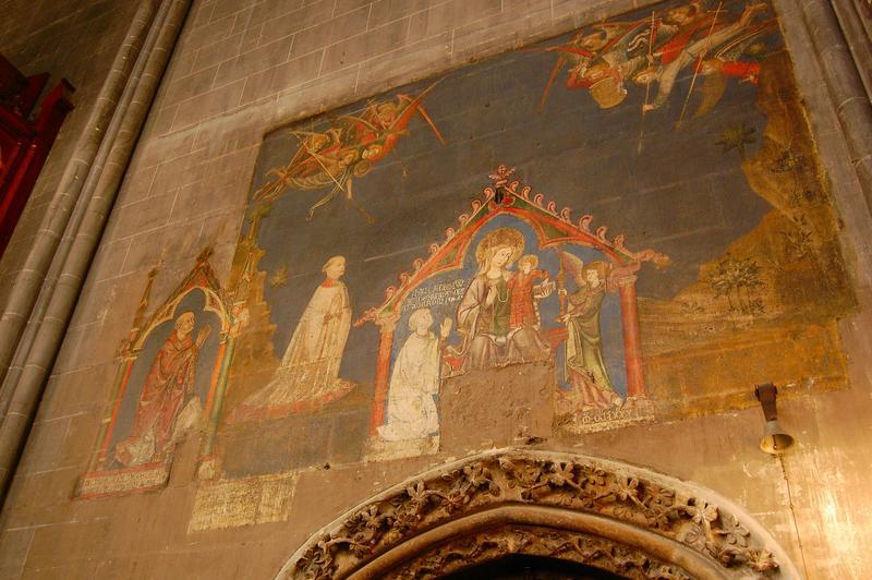 Peinture monumentale du déambulatoire : Vierge à l'Enfant accompagnés d'anges et de donateurs (la)