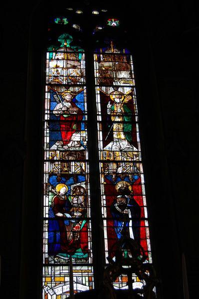 Verrières du choeur : la Transfiguration, abbé Raymond de Marcenat (l'), saint Christophe, saint Pierre, saint Austremoine, l'Annonciation, saint Calmin, baptème du Christ (le)