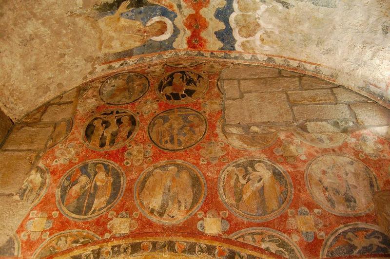 décor peint de la chapelle de la Vierge : Couronnement de la Vierge (le), vie du Christ, vue partielle