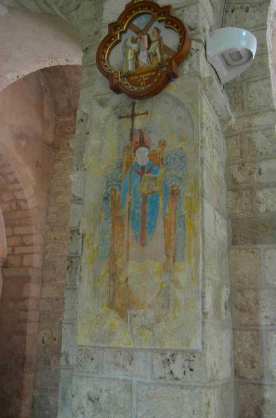 peinture monumentale : représentation d'un évêque, vue générale