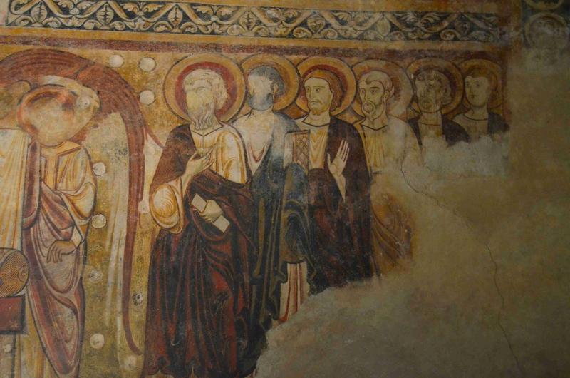 Peintures monumentales du réfectoire : Christ en majesté dans le tétramorphe (le), la Vierge entourée des douze apôtres, vue partielle