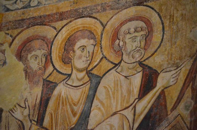 Peintures monumentales du réfectoire : Christ en majesté dans le tétramorphe (le), la Vierge entourée des douze apôtres, détail
