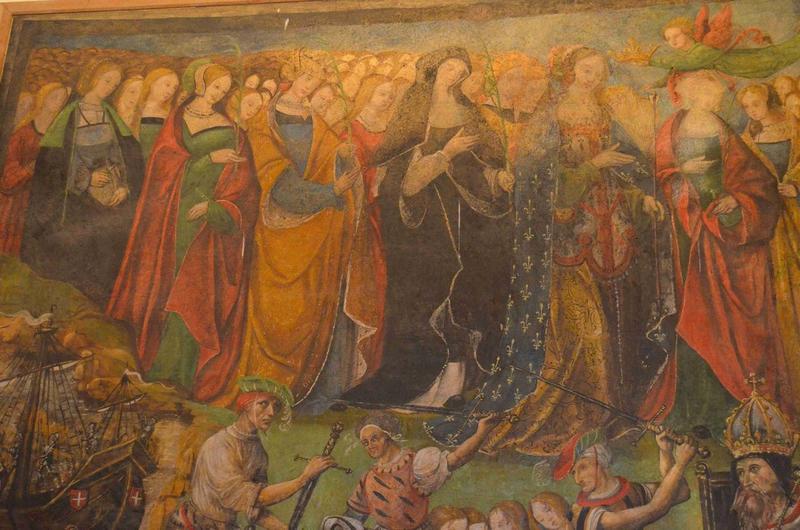 Peinture monumentale du croisillon Nord : sainte Ursule et les onze mille vierges, vue partielle