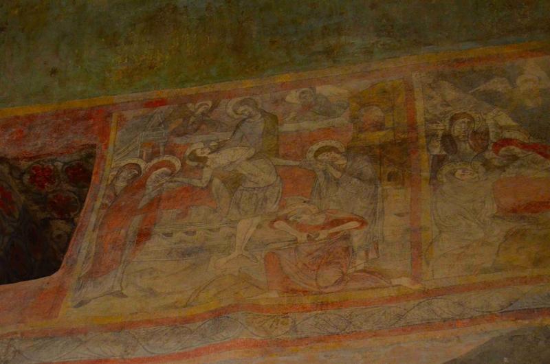Peintures monumentales de la nef : scène de la passion, détail : la déposition de croix