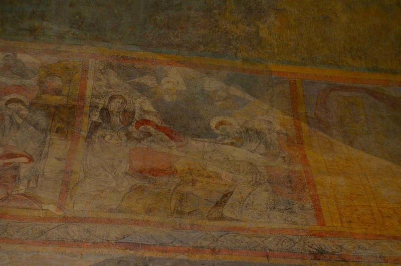 Peintures monumentales de la nef : scène de la passion, détail : la mise au tombeau