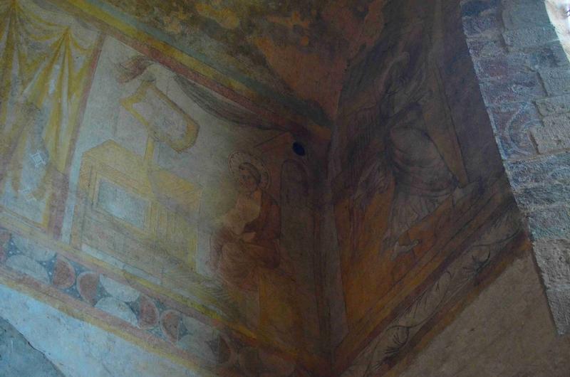 peinture monumentale du revers du mur de la façade occidentale : Annonciation (l'), vue partielle