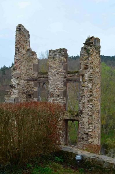 Ruines des anciens bâtiments conventuels, façade est, vue partielle