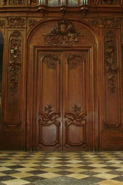 Orgue de tribune : tribune d'orgue ; buffet d'orgue, vue partielle