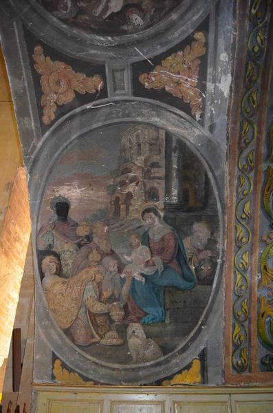 Chapelle de la vierge, vue partielle des peintures murales : Adoration des mages (l')