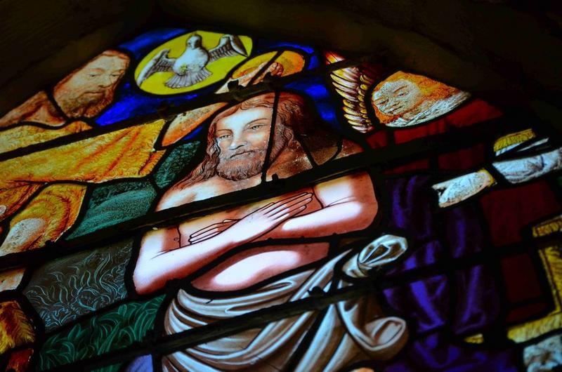 Verrière : Baptême du Christ (le) et la décollation de saint Jean-Baptiste, détail