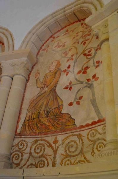 Peinture monumentale : sainte Barbe en prières, vue générale