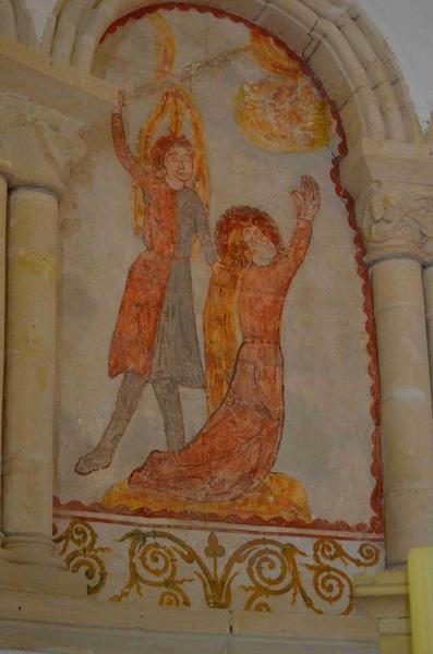 Peinture monumentale : décollation de sainte Barbe par son père qui est à cet instant foudroyé par la foudre, vue générale