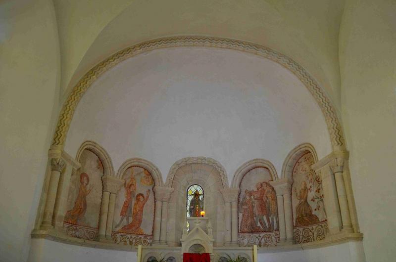 Peintures monumentales : Saintes en prières, La Décollation d'une martyre, Le Christ, Scènes de la vie de sainte Barbe, vue générale
