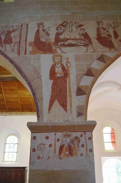 Peintures monumentales : Légendes de saint Jean-Baptiste et saint Laurent, vue partielle