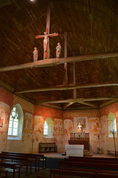 Calvaire (3 statues) de la poutre de gloire : Vierge, saint Jean et Christ