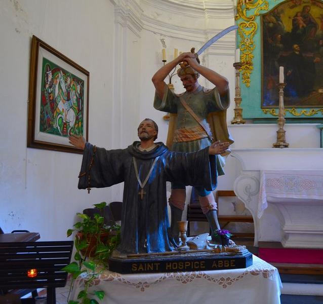 groupe sculpté de procession : le Martyre de saint Hospice, vue générale
