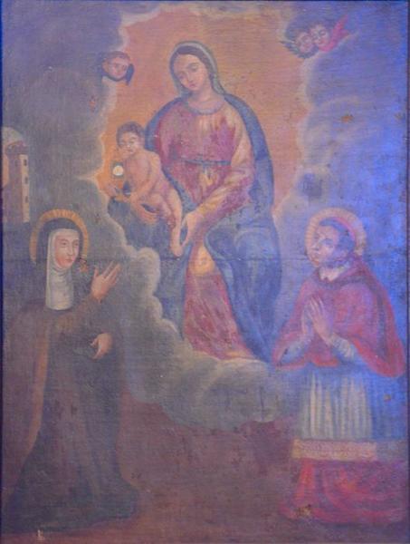 Tableau : la Vierge à l'Enfant entre sainte Claire et saint Charles Borromée avec la tour de Saint-Hospice à l'arrière plan