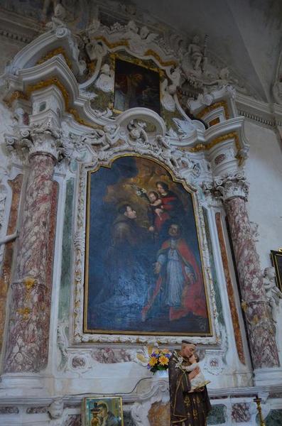 Autel retable de saint Antoine-de-Padoue, tableau : la Vierge présentant Jésus à saint Antoine de Padoue