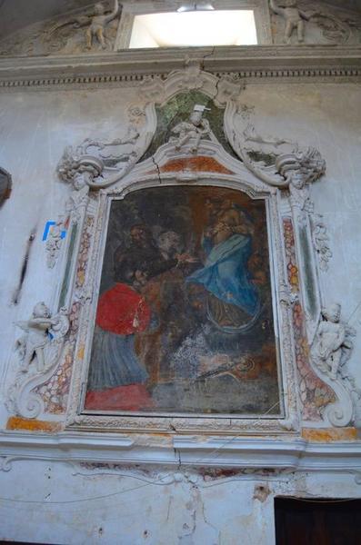 Tableau, cadre : la Vierge immaculée entourée de saints, dont saint Charles Borromée et saint Jean-Baptiste