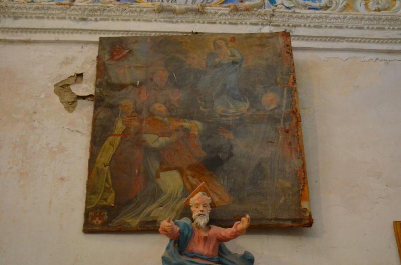 Tableau : la Vierge de l'Immaculée Conception entourée de saint François d'Assise, sainte Catherine de Sienne et deux autres saints